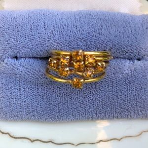 Jewelry - Multi Band Ring w/ Citrine Rhinestones Goldtone